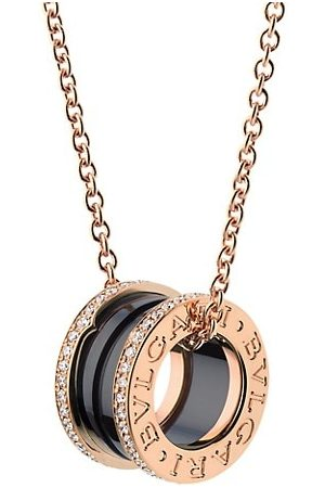 Bvlgari B.zero1 18K Rose , Black Ceramic & Diamond Pendant Necklace