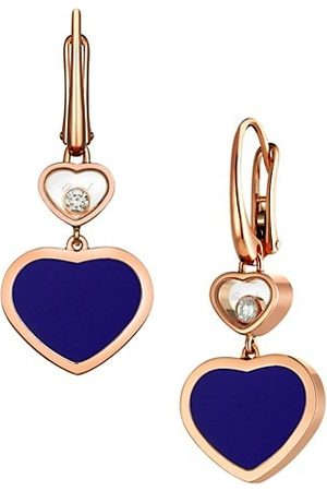 Chopard Happy Hearts 18K Rose Gold, Diamond & Blue Stone Drop Earrings