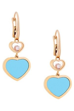 Chopard Happy Hearts 18K Rose , Diamond & Turquoise Drop Earrings