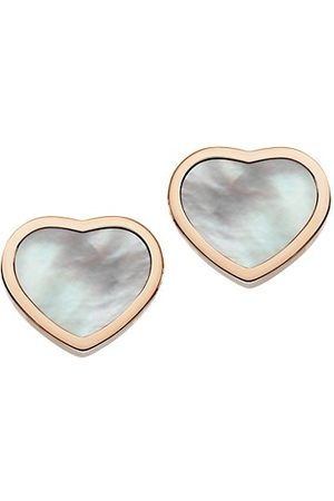 Chopard Happy Hearts 18K Rose Gold & Mother-Of-Pearl Stud Earrings