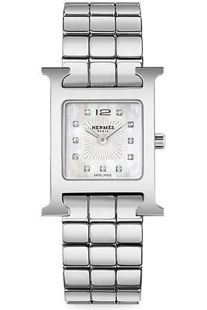 Hermès Heure H Diamond & Steel Bracelet Watch