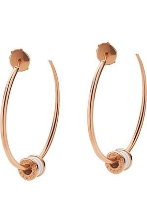 Bvlgari Earrings - B.zero1 18K Rose & White Ceramic Large Hoop Earrings