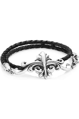 King Baby Studio Armor Sterling & Leather Double Wrap Bracelet