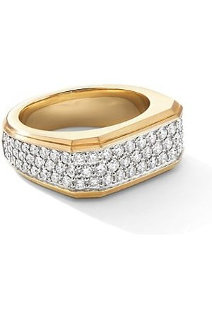 David Yurman The Pavé Roman Signet 18K Yellow & Diamond Ring