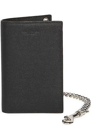 Saint Laurent Chain Bi-Fold Pebbled Leather Wallet