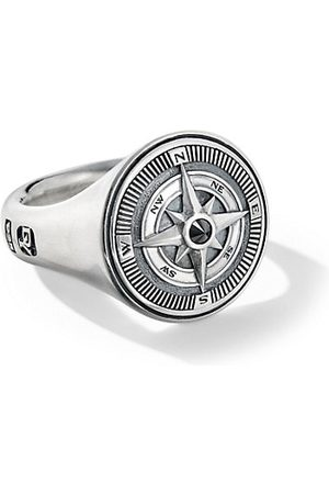 David Yurman Men Rings - Maritime Sterling Silver & Black Diamond Compass Signet Ring