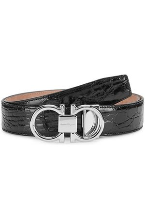 Salvatore Ferragamo Men Belts - Gancini Buckle Patent Crocodile Belt
