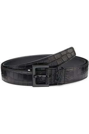 Saint Laurent Monogram Croc-Embossed Leather Belt