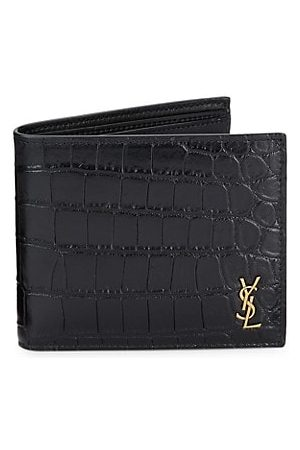 Saint Laurent Men Wallets - Crocodile-Embossed Leather Wallet