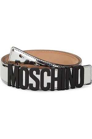 Moschino Logo Metallic Leather Belt