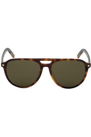 Z Zegna 57MM Round Havana Aviator Sunglasses