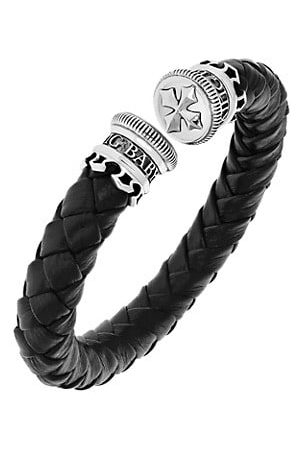 King Baby Studio Men Bracelets - New Classics Leather Wrap Stainless Steel Cuff