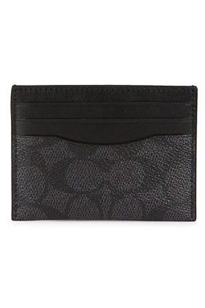 Coach Men Wallets - Signature Canvas & Leather Card Case