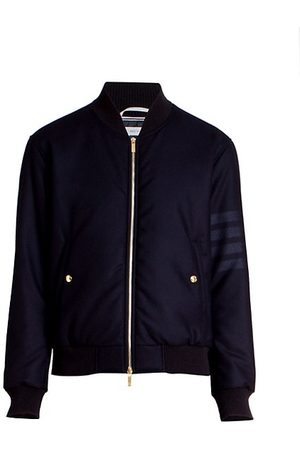 Thom Browne Men Bomber Jackets - Wool Tech Down Zip-Front Bomber Jacket
