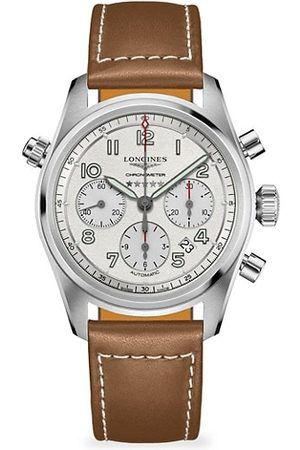 Longines Men Watches - Spirit Stainless Steel & Leather-Strap Chronograph Watch
