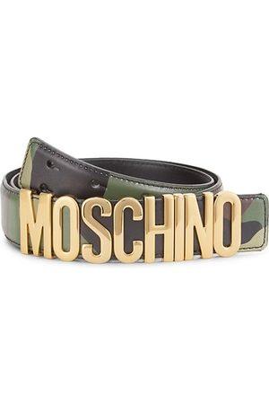Moschino Men Belts - Camo Logo Buckle Leather Belt