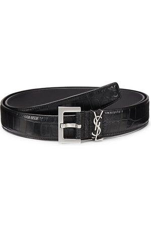 Saint Laurent Insignia Crocodile-Embossed Leather Belt