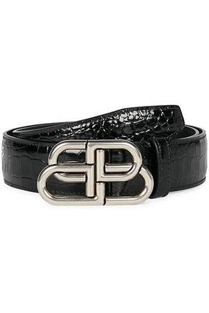 Balenciaga BB Large Crocodile-Embossed Leather Belt