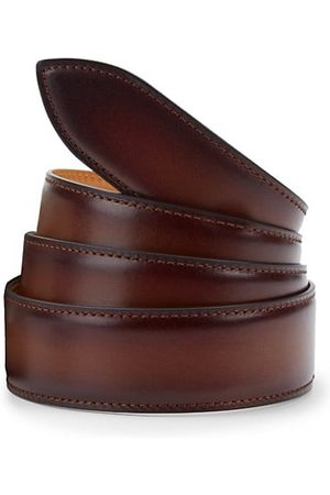 CORTHAY Carmel Brulee Patina Leather Belt