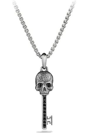 David Yurman Men Necklaces - Skull Black Diamonds and Sterling Skull Pendant