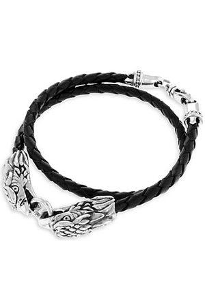 King Baby Studio Men Bracelets - Sterling Leather Double Eagle Braided Bracelet