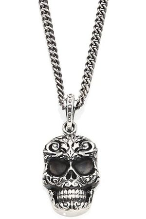 King Baby Studio Men Necklaces - Sterling Carved Baroque Skull Pendant Necklace