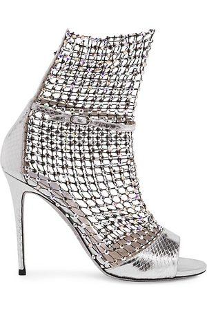 RENÉ CAOVILLA Galaxia Crystal Mesh Metallic Snakeskin Sandals