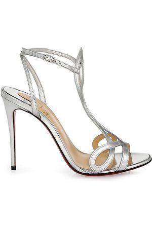 Christian Louboutin Double-L Metallic Leather Sandals