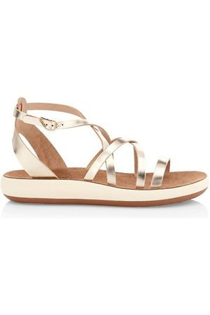 Ancient Greek Sandals Delia Metallic Leather Flatform Sandals