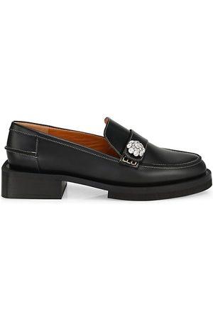 Ganni Loafers - Jewel-Embellished Leather Loafers