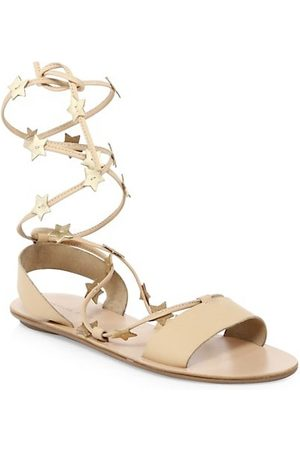 Loeffler Randall Starla Ankle-Wrap Leather Sandals