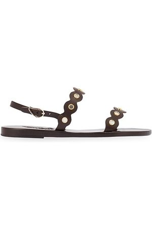 Ancient Greek Sandals Sandals - Clio Mirror-Embellished Leather Slingback Sandals