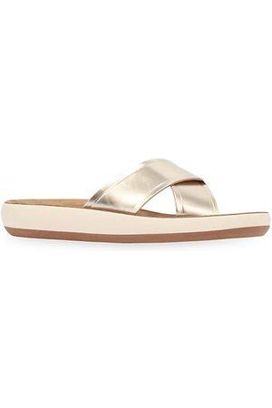 Ancient Greek Sandals Thais Metallic Leather Flatform Sandals