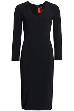 Carolina Herrera Women Party Dresses - Icon V-Neck Crepe Sheath Dress