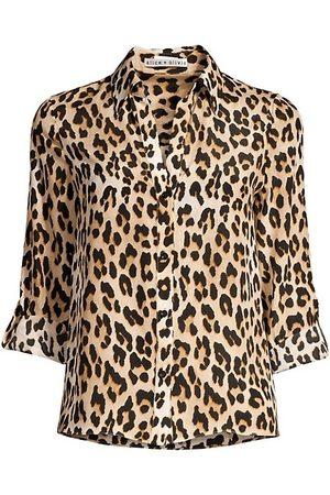 ALICE+OLIVIA Eloise Leopard Print Silk Blouse