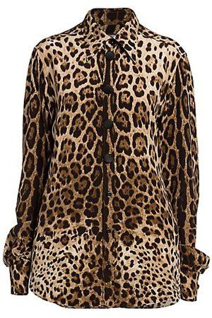 Dolce & Gabbana Leopard-Print Crepe de Chine Blouse