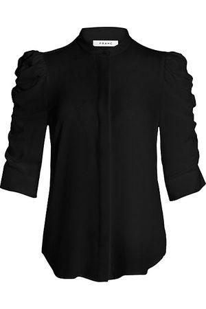 Frame Women Blouses - Shirred-Sleeve Silk Shirt