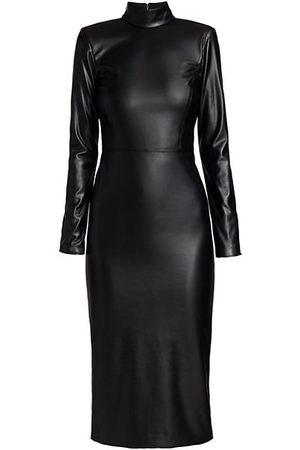 ALICE+OLIVIA Delora Vegan Leather Bodycon Midi Dress