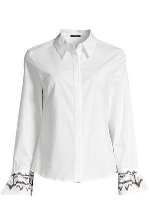 Natori Embroidered Cuff Poplin Button Down Tunic