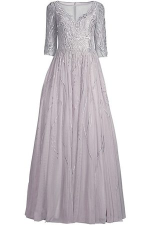 Basix Black Label Women Party Dresses - Embroidered Illusion Gown