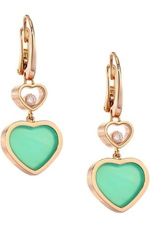 Chopard Happy Hearts 18K Rose , Diamond & Chrysoprase Drop Earrings