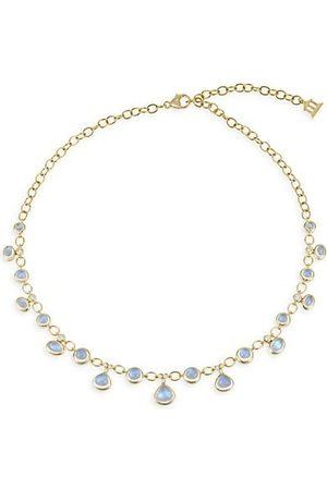 Temple St. Clair Royal Moonstone, Diamond & 18K Yellow Gold Half Bib Necklace
