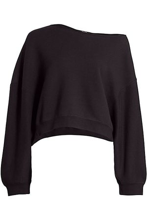 R13 Patti Asymmetric Puff-Sleeve Off-the-Shoulder Sweatshirt