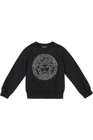 VERSACE Embellished cotton-jersey sweatshirt