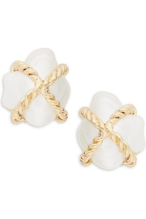 Kenneth Jay Lane Champagne Faux-Pearl Clip-On Earrings