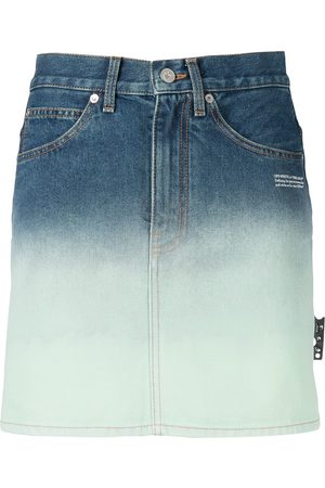 OFF-WHITE High-waisted ombré denim skirt