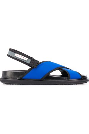 Marni Logo patch crossover strap sandals