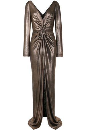 Marchesa Notte Metallic ruched fitted dress