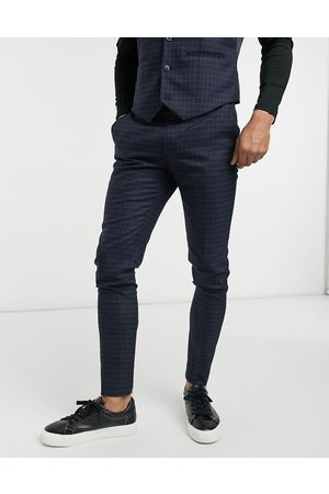 ASOS Skinny suit trousers with micro check in and green