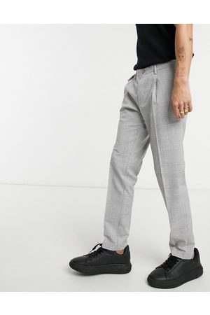 Burton Skinny POW check pleasted trousers in